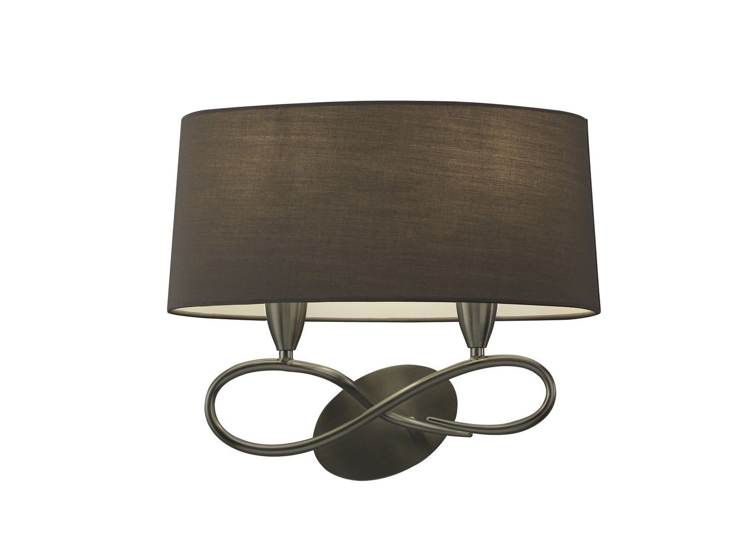 Lua Wall Lamp Switched 2 Light E27, Ash Grey With Ash Grey Shade