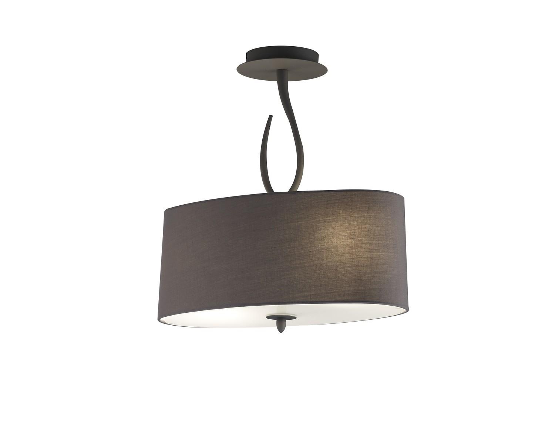 Lua Semi Ceiling 2 Light E27, Ash Grey With Ash Grey Shade