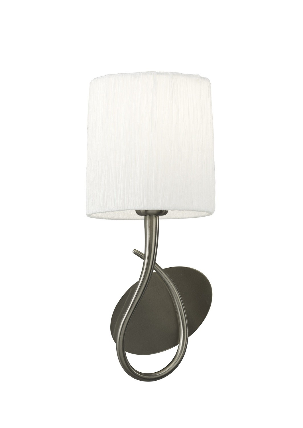 Lua Wall Lamp Switched 1 Light E27, Satin Nickel With White Shade