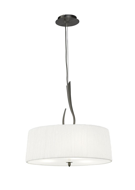Lua Pendant 3 Light E27, Satin Nickel With White Shade