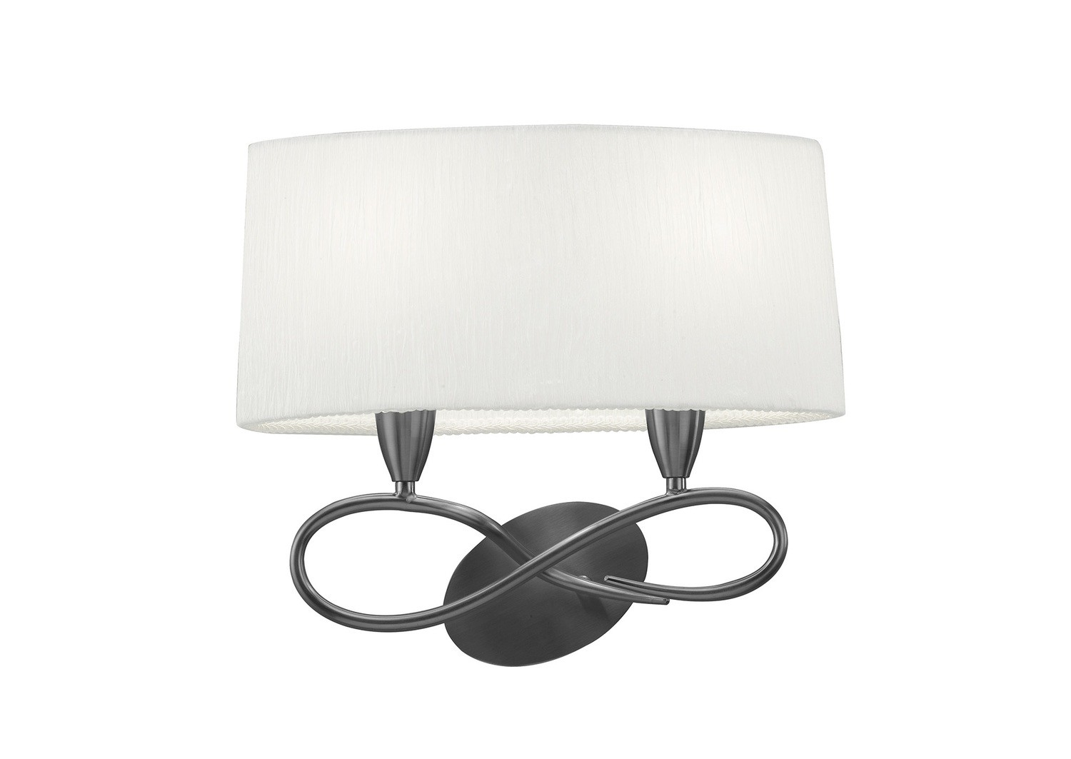Lua Wall Lamp Switched 2 Light E27, Satin Nickel With White Shade