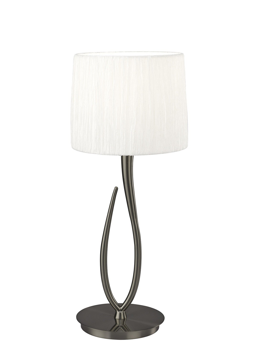 Lua Table Lamp 1 Light E27, Satin Nickel Large With White Shade