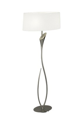 Lua Floor Lamp 2 Light E27, Satin Nickel With White Shade