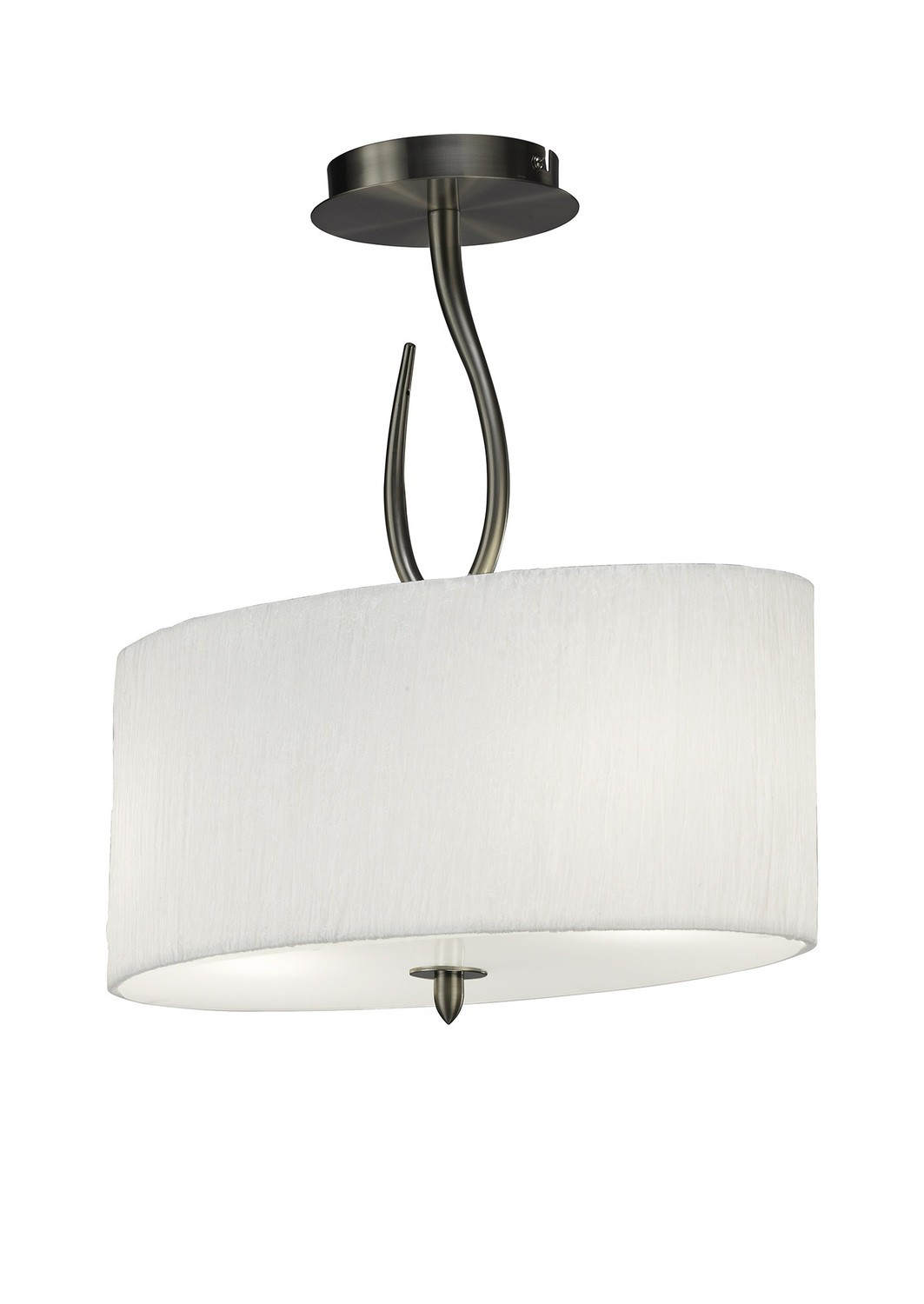 Lua Semi Ceiling 2 Light E27, Satin Nickel With White Shade