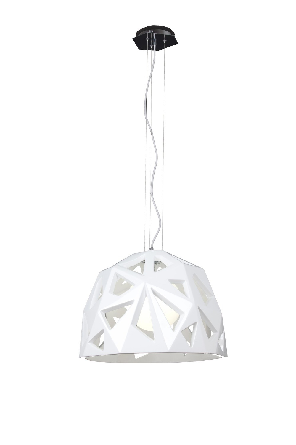 Facette Pendant 1 Light E27, Gloss White/Polished Chrome