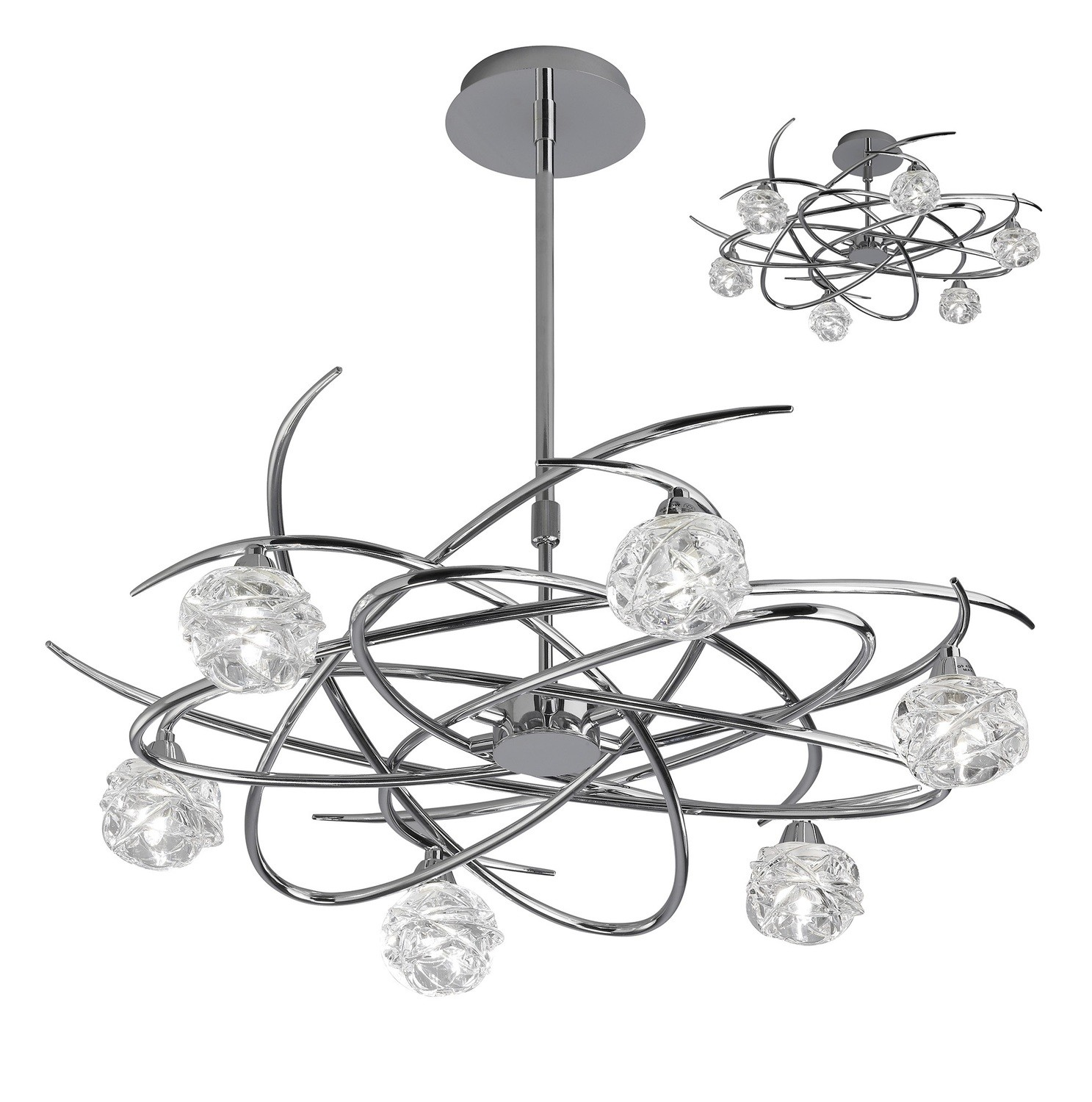 Maremagnum Telescopic Semi Flush Convertible 6 Light G9, Polished Chrome