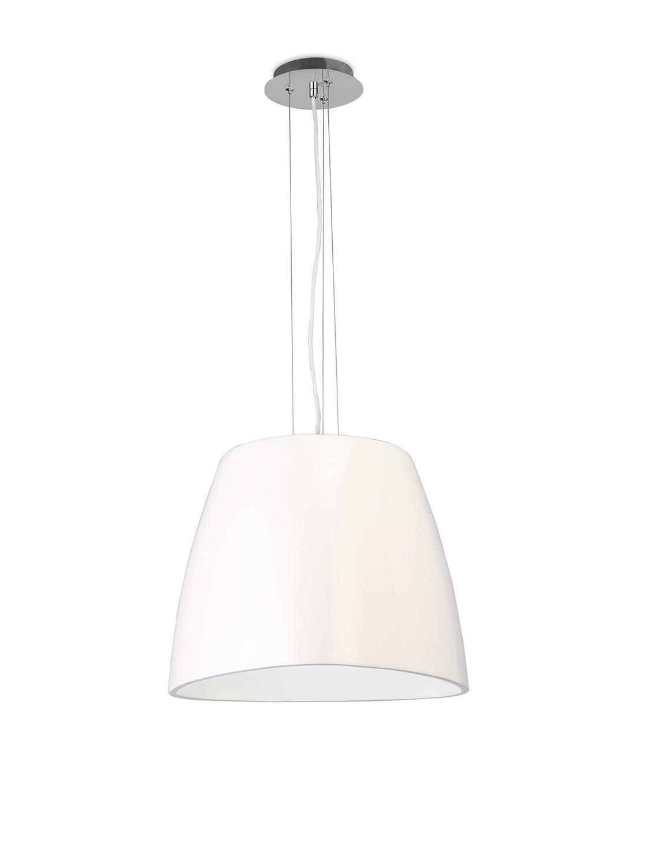 Triangle Pendant Large 1 Light E27, Gloss White/Polished Chrome