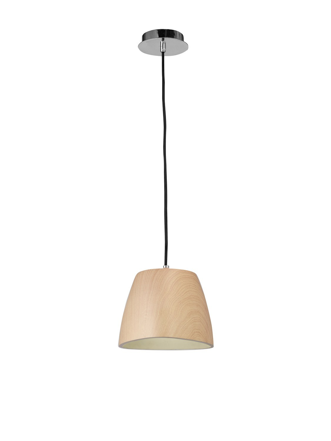 Triangle Pendant Small 1 Light E27, Beech/Polished Chrome