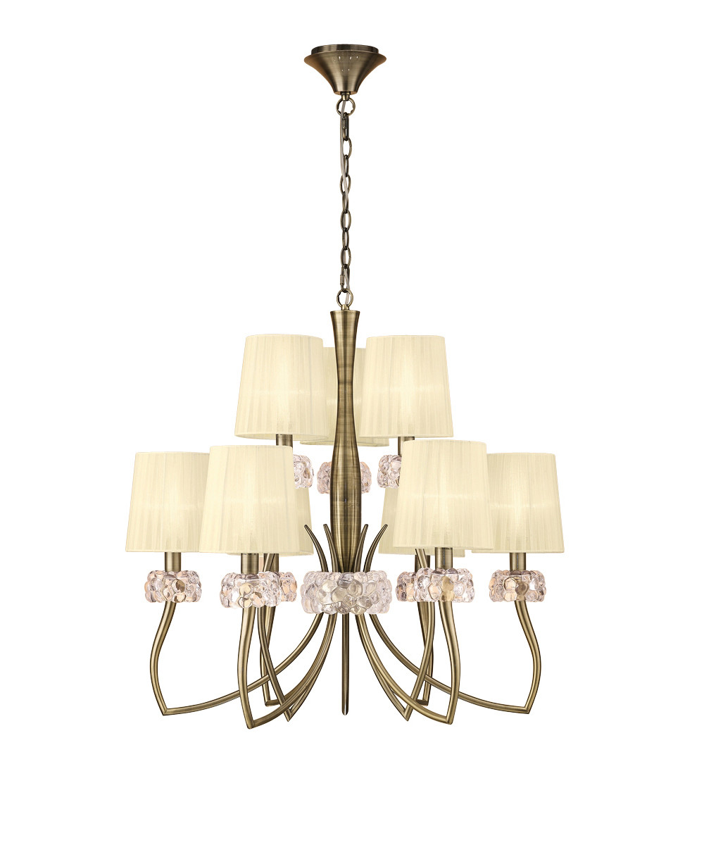 Loewe 2 Tier Pendant 6+3 Light E14, Antique Brass With Cream Shades