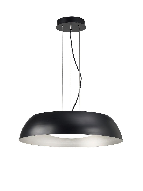 Argenta Pendant Large 30W LED 3000K, 3000lm, Matt Black/Silver/White Acrylic, 3yrs Warranty
