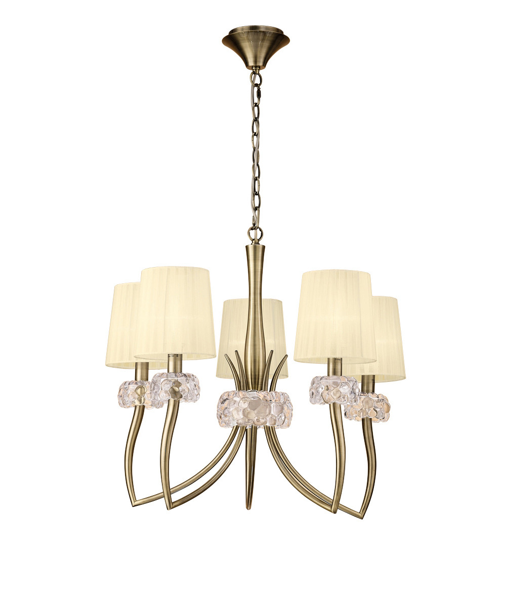 Loewe Pendant 5 Light E14, Antique Brass With Cream Shades