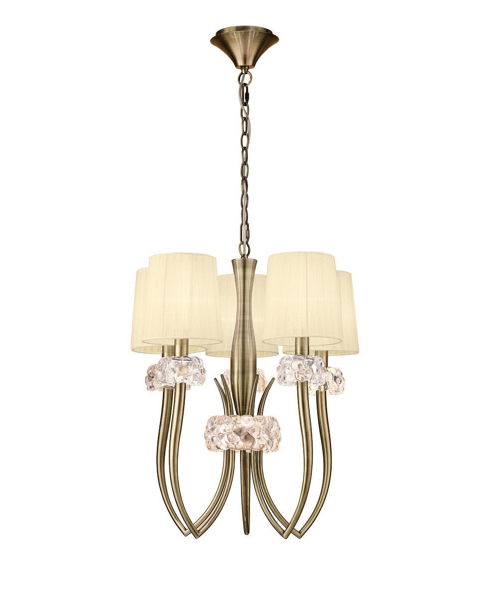 Loewe Slim Pendant 5 Light E27, Antique Brass With Cream Shades