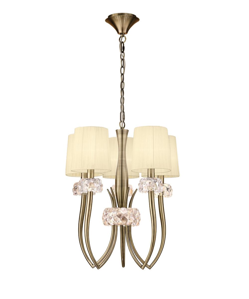 Loewe Slim Pendant 5 Light E27, Antique Brass With Cream Shades