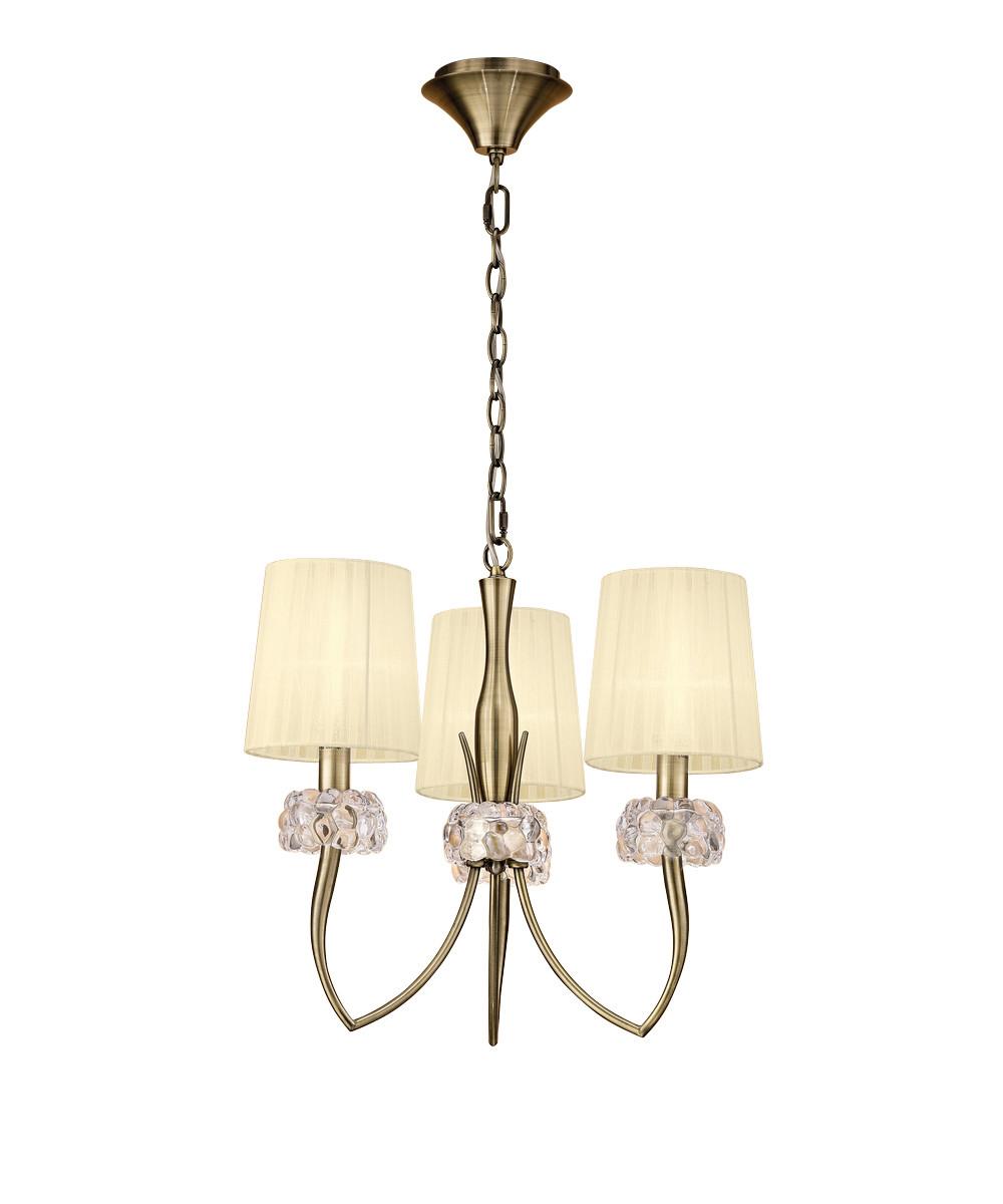 Loewe Pendant 3 Light E14, Antique Brass With Cream Shades