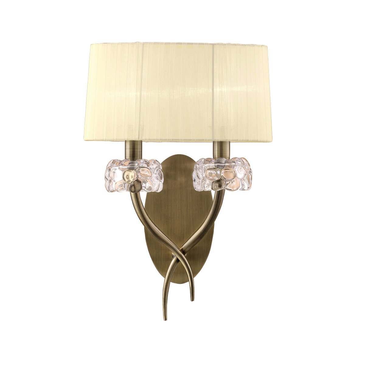 Loewe Wall Lamp Switched 2 Light E14, Antique Brass With Cream Shade