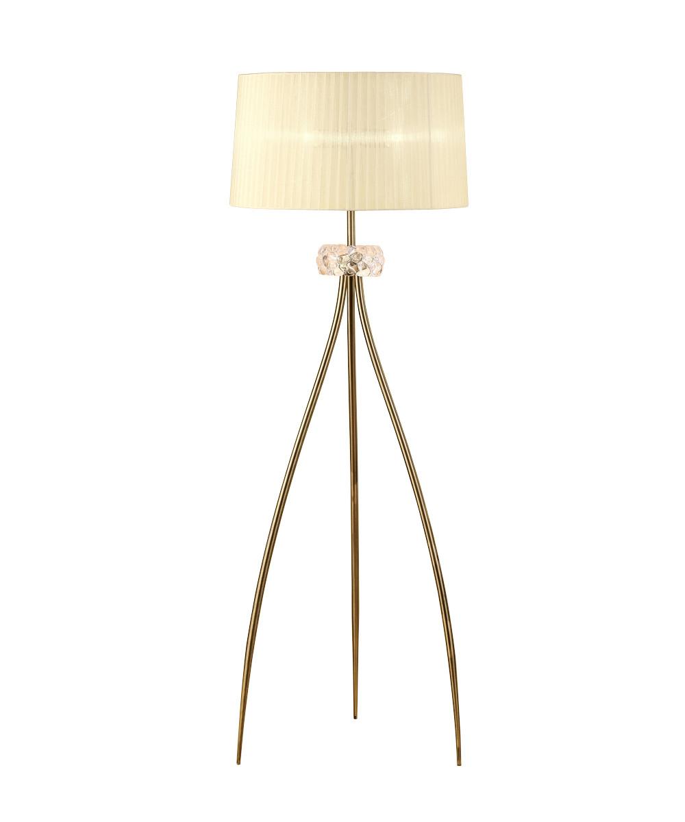 Loewe Floor Lamp 3 Light E27, Antique Brass With Cream Shade