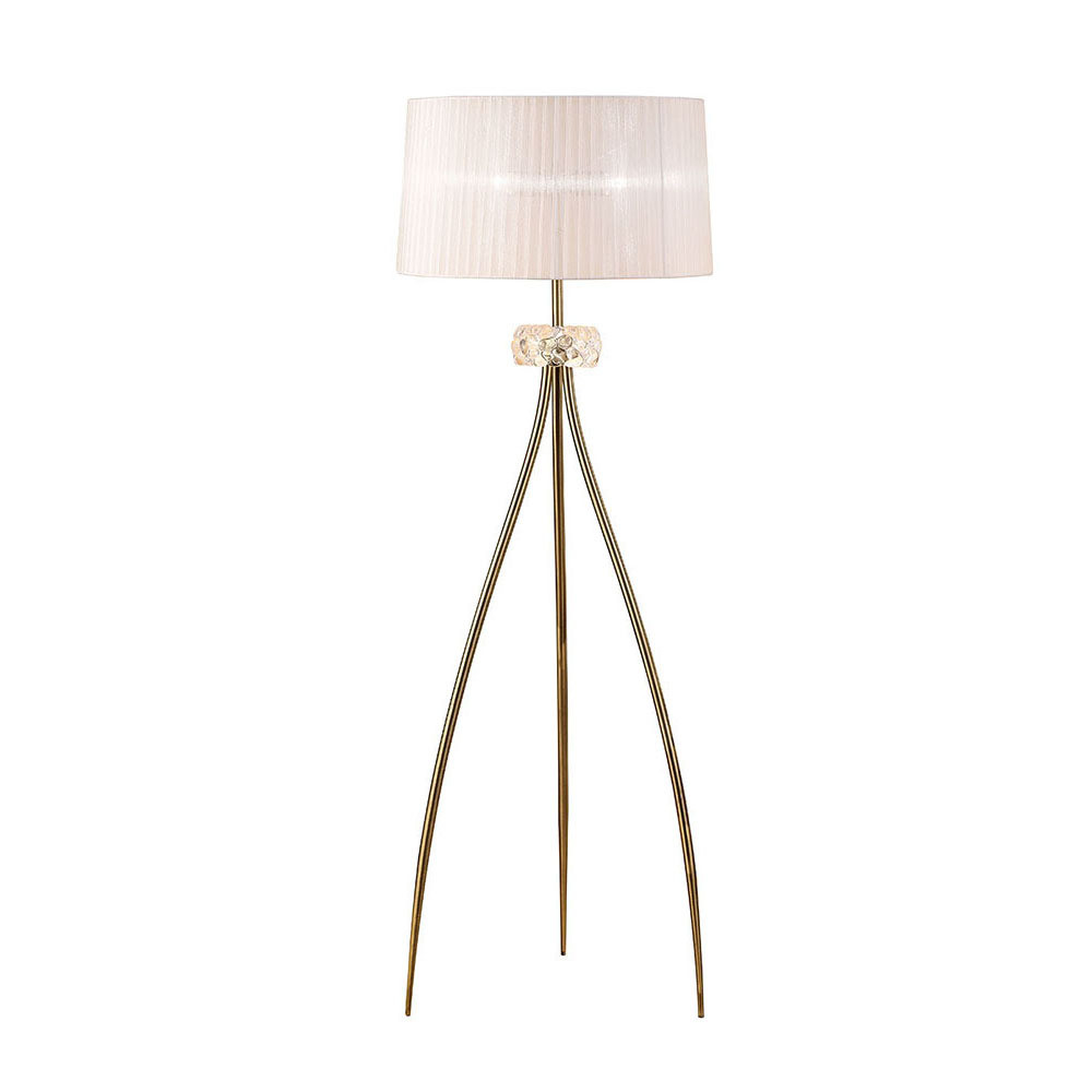 Loewe Floor Lamp 3 Light E27, Antique Brass With White Shade