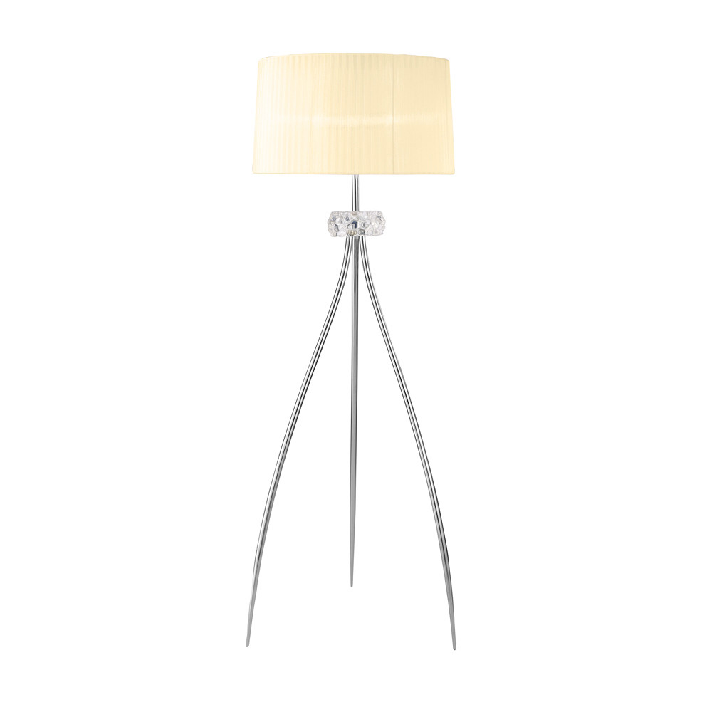 Loewe Floor Lamp 3 Light E27, Polished Chrome With White Shade