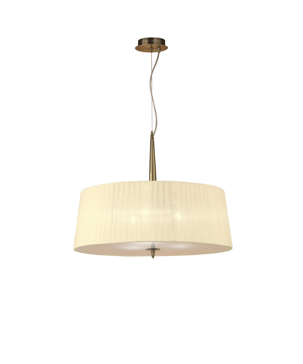 Loewe Single Pendant 3 Light E14, Antique Brass With Cream Shade