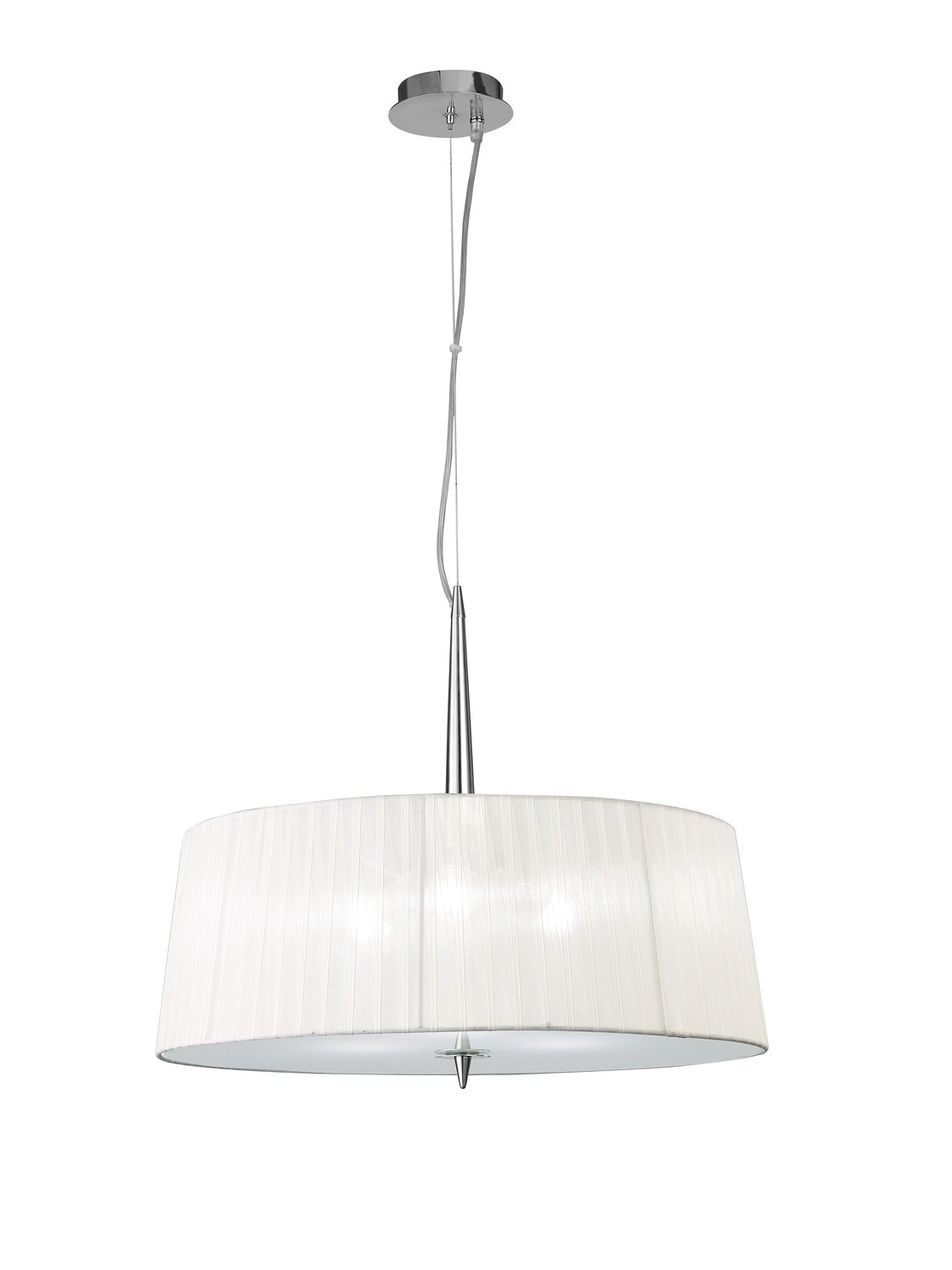 Loewe Single Pendant 3 Light E14, Polished Chrome With White Shade
