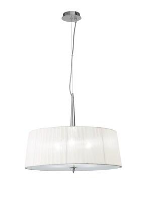 Loewe Single Pendant 3 Light E14, Polished Chrome With White Shade
