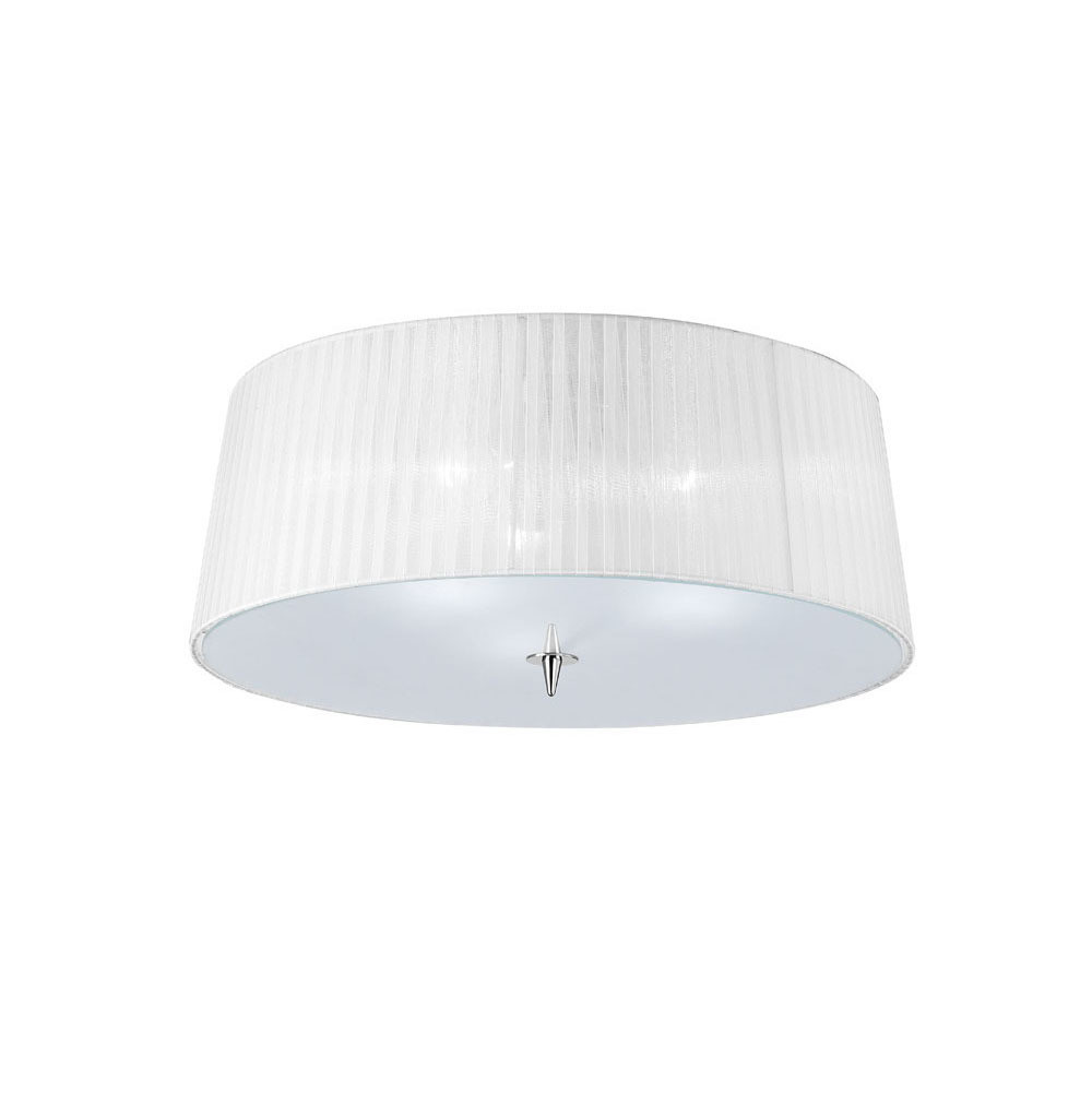 Loewe Ceiling 3 Light E27, Polished Chrome With White Shade