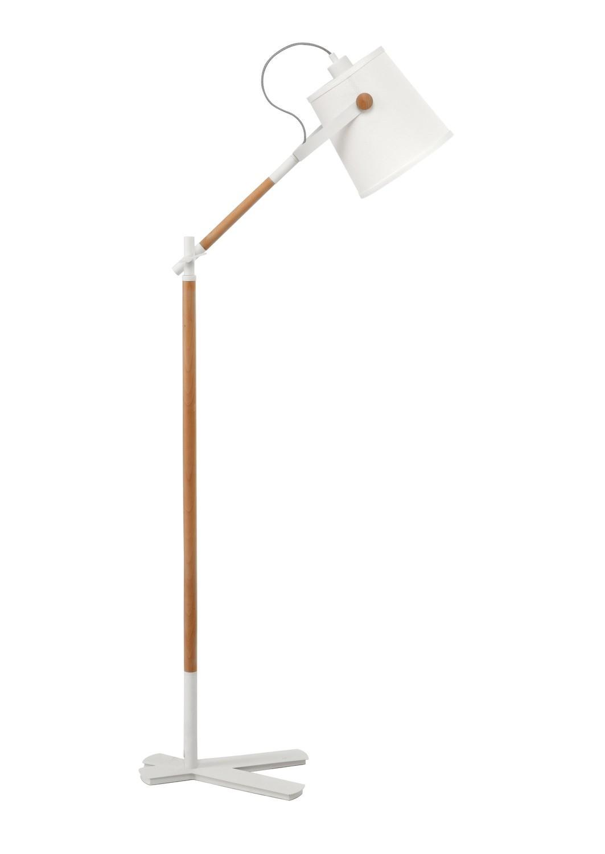 Nordica Floor Lamp With White Shade 1 Light E27, Matt White/Beech With Ivory White Shade