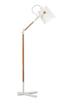 Nordica Floor Lamp With White Shade 1 Light E27, Matt White/Beech With Ivory White Shade