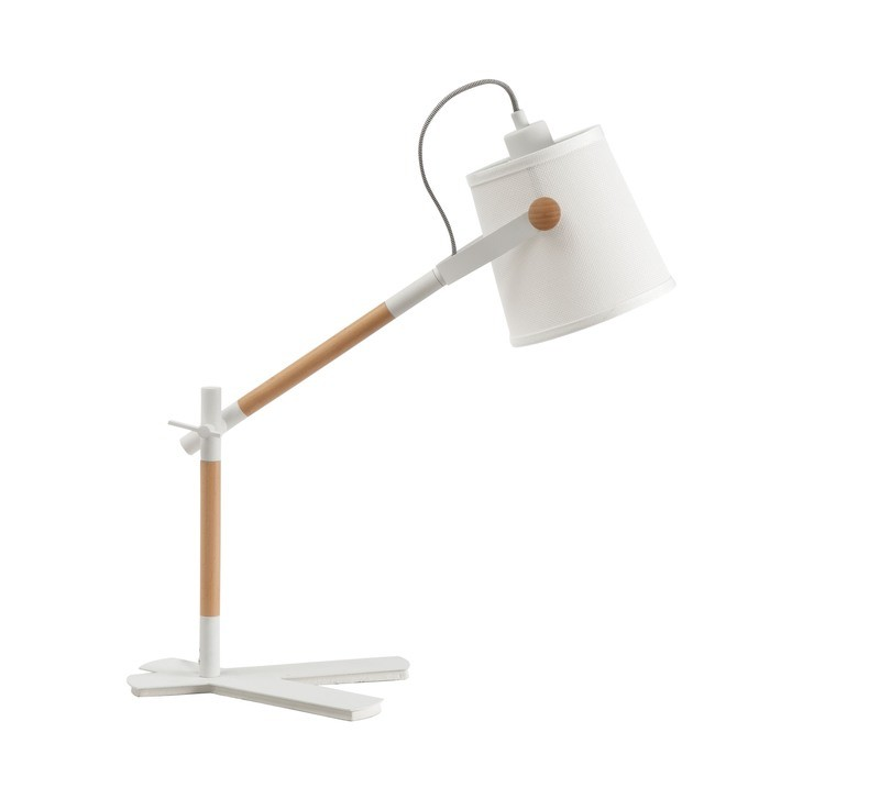 Nordica Table Lamp With White Shade 1 Light E27, Matt White/Beech With Ivory White Shade