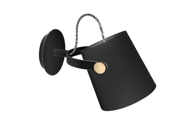 Nordica Wall Lamp With Black Shade 1 Light E27, Matt Black/Beech With Black Shade