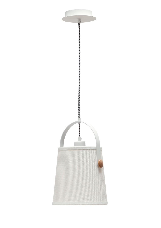 Nordica Pendant With White Shade 1 Light E27, Matt White/Beech With Ivory White Shade