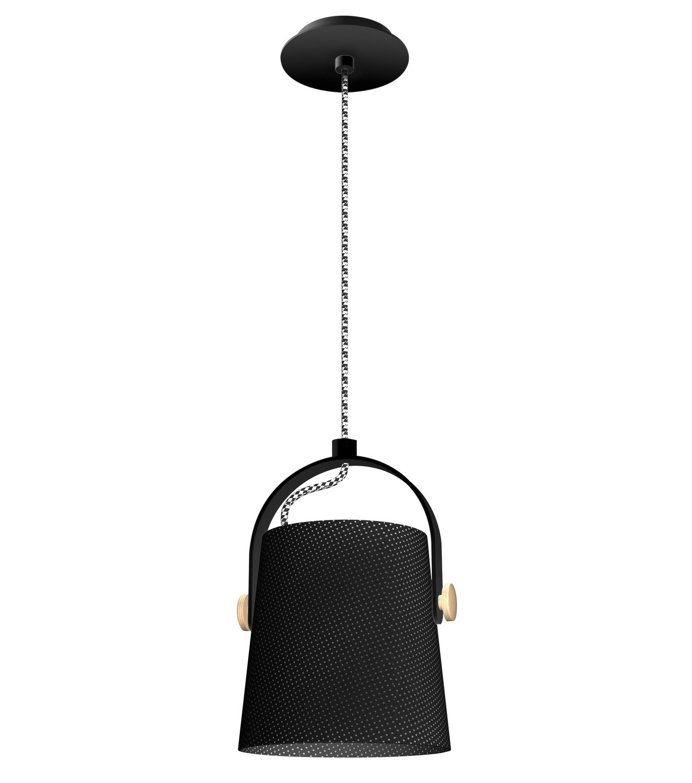 Nordica Pendant With Black Shade 1 Light E27, Matt Black/Beech With Black Shade
