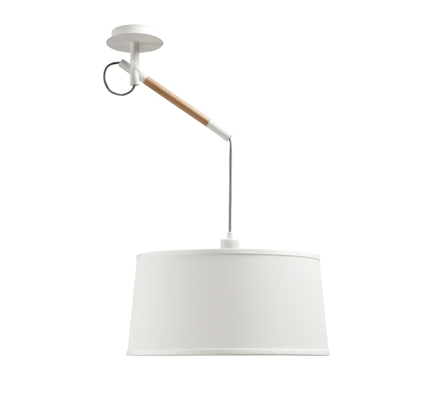 Nordica Multi Position Pendant With White Shade 1 Light E27, Matt White/Beech With Ivory White Shade