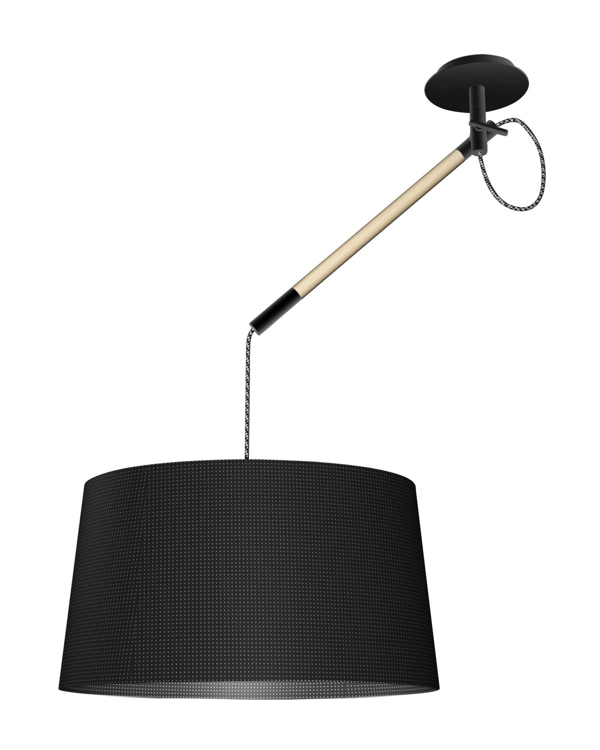Nordica Multi Position Pendant With Black Shade 1 Light E27, Matt Black/Beech With Black Shade