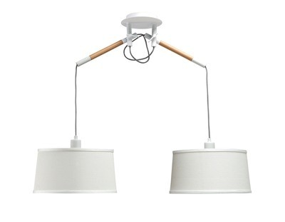 Nordica Pendant With White Shade 2 Light E27, Matt White/Beech With Ivory White Shades