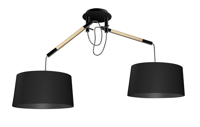 Nordica Pendant With Black Shade 2 Light E27, Matt Black/Beech With Black Shades