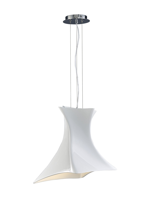Twist Pendant 1 Light E27, Gloss White/Polished Chrome