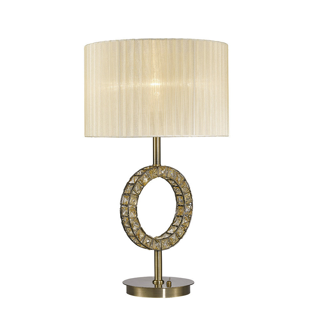 Florence Round Table Lamp With Cream Shade 1 Light Antique Brass/Crystal