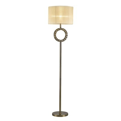 Florence Round Floor Lamp With Cream Shade 1 Light Antique Brass/Crystal
