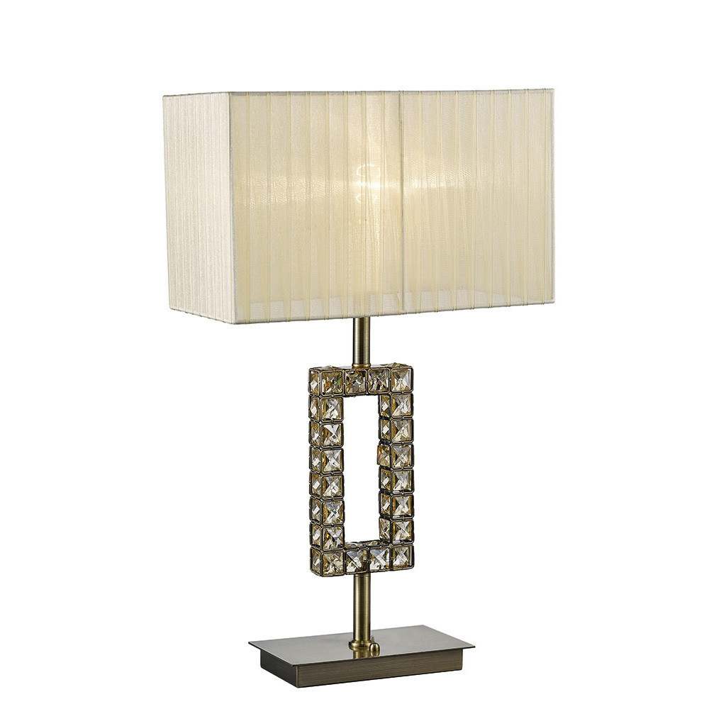 Florence Rectangle Table Lamp With Cream Shade 1 Light Antique Brass/Crystal