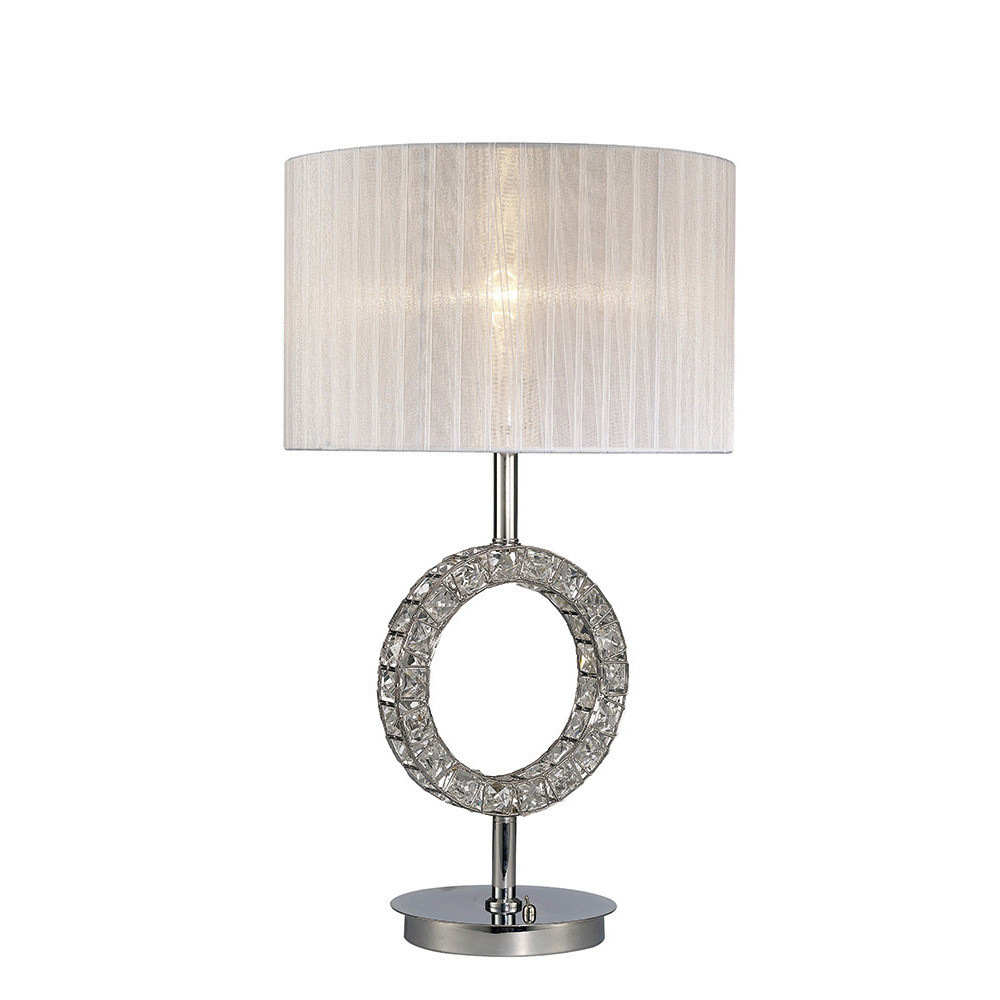 Florence Round Table Lamp With White Shade 1 Light Polished Chrome/Crystal