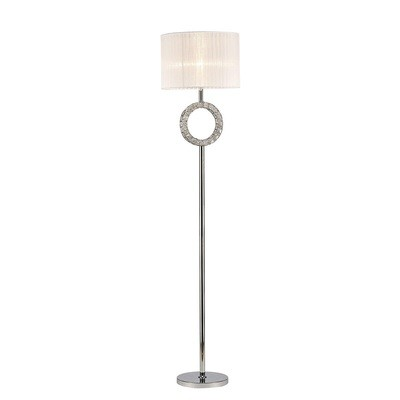 Florence Round Floor Lamp With White Shade 1 Light Polished Chrome/Crystal