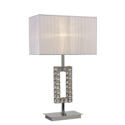 Florence Rectangle Table Lamp With White Shade 1 Light Polished Chrome/Crystal