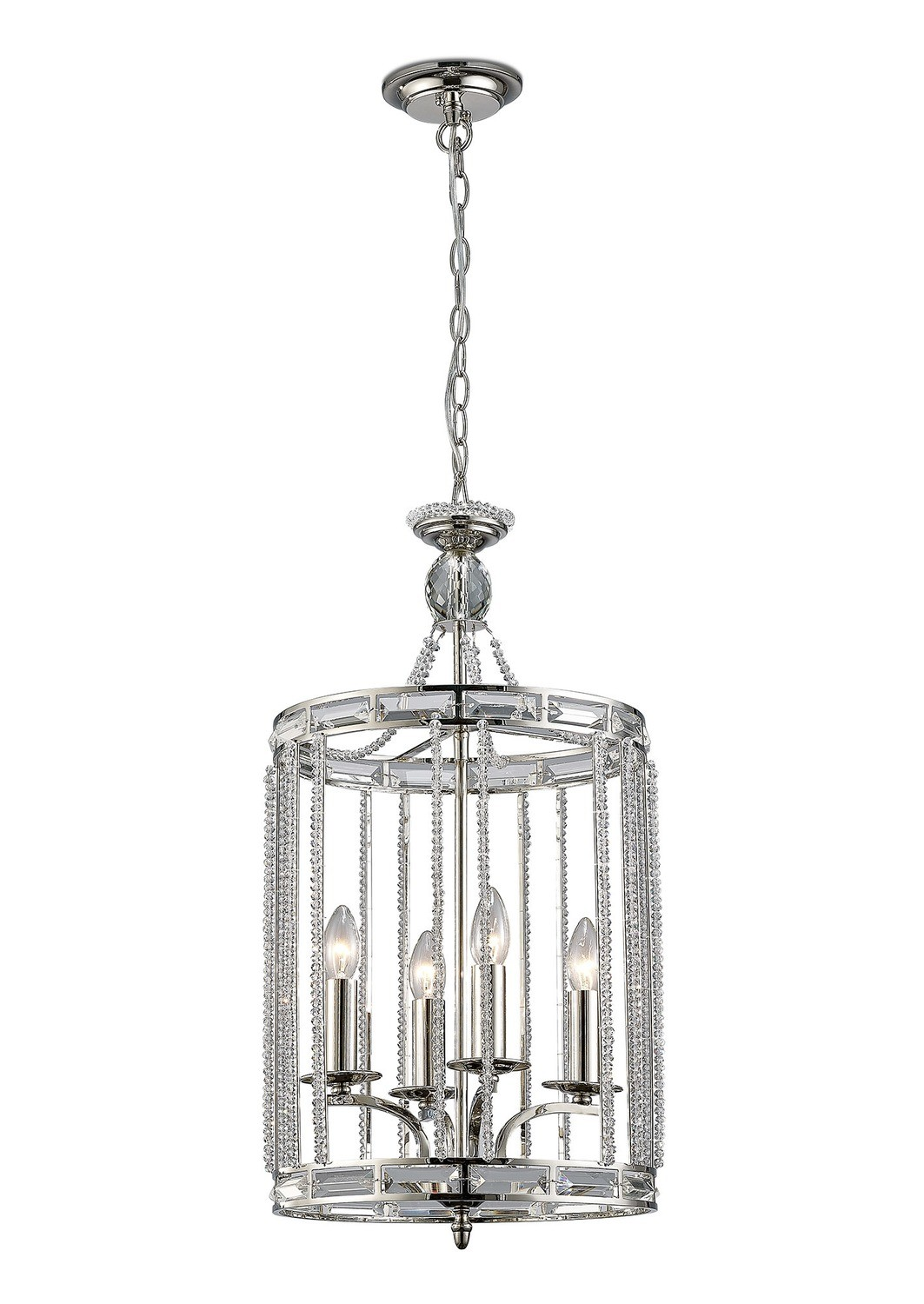 Adina Pendant 4 Light E14 Polished Nickel/Crystal