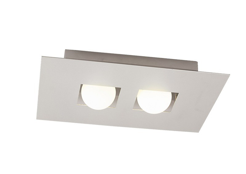 Cocoon Ceiling 2 Light G9, Silver/Frosted White Glass