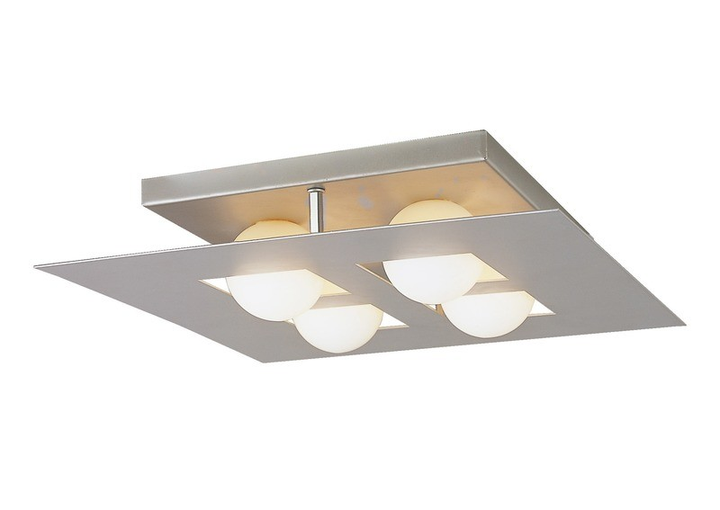 Cocoon Ceiling Square 4 Light G9, Silver/Frosted White Glass