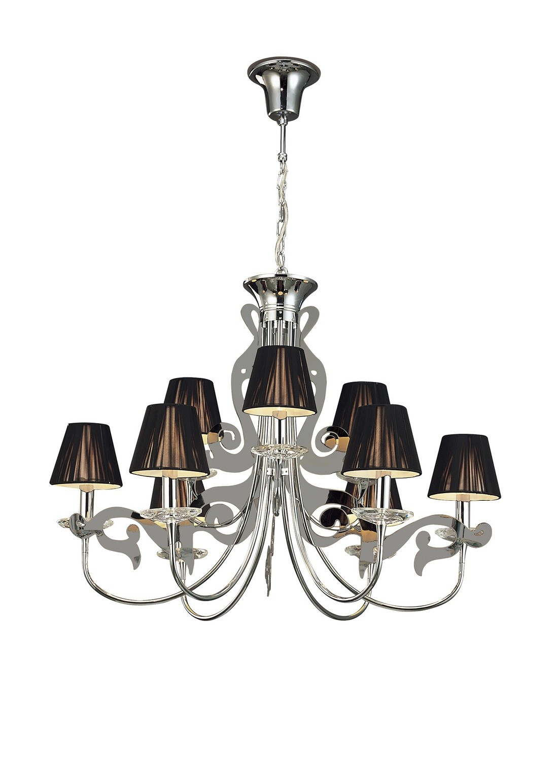 Acanto Pendant Round 9 Light E14, Polished Chrome With Black Shades