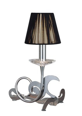 Acanto Table Lamp 1 Light E14, Polished Chrome With Black Shade