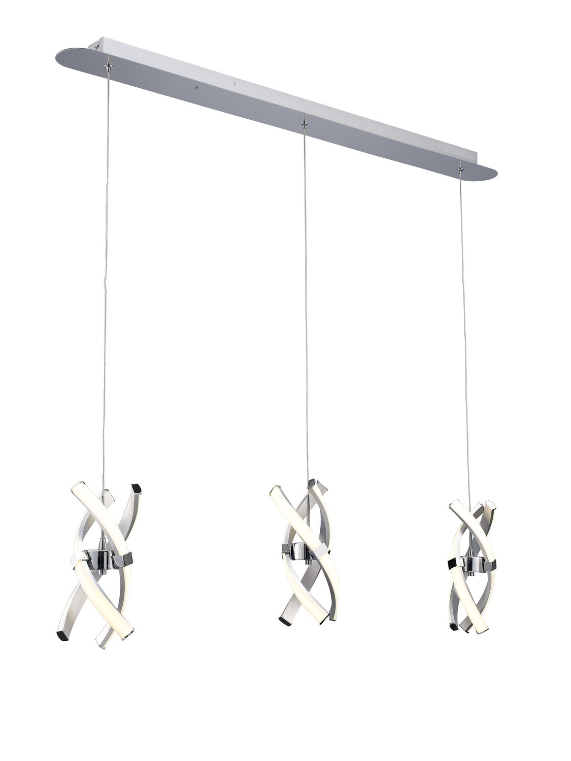 Espirales 3 Drop Pendant 3 Light 36W LED Line 3000K, 2520lm, Silver/Frosted Acrylic/Polished Chrome