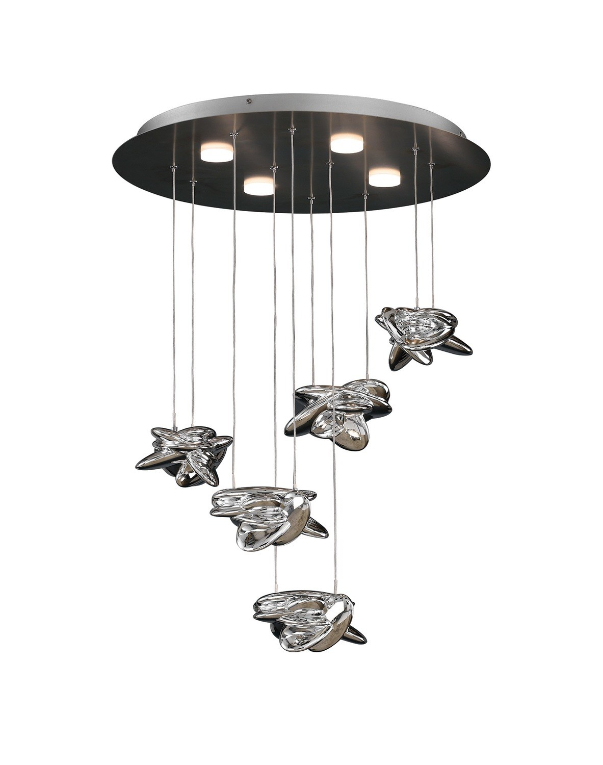 Nido Pendant 62cm Round 5 + 4 Lights 30W + 20W LED 3000K, 4000lm, Chrome, 3yrs Warranty